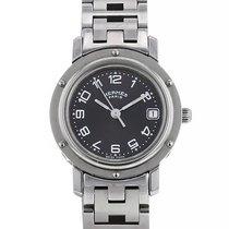 Hermès Clipper Stahl 24mm Grau Arabisch