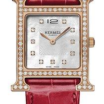Hermès Złoto różowe Kwarcowy Masa perłowa 26mm nowość Heure H