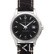 Hamilton Jazzmaster Viewmatic Auto Black Steel/Leather 40mm -...