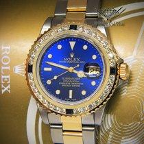 Rolex Submariner 18k Yellow Gold/Steel Blue Diamond/Sapphire...