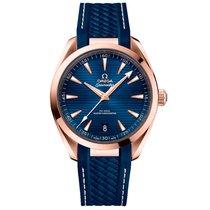 歐米茄 玫瑰金 自動發條 藍色 41mm 新的 Seamaster Aqua Terra