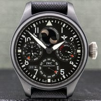IWC Big Pilot Top Gun pre-owned 48mm Black Moon phase Date Month Year Perpetual calendar Fold clasp