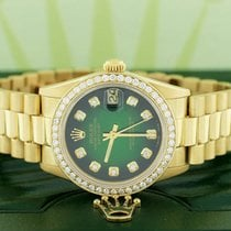 Rolex President Datejust Midsize Gold 31MM 68278 w/Green...