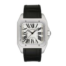 Cartier Santos 100 Large Steel Leather Strap Unworn
