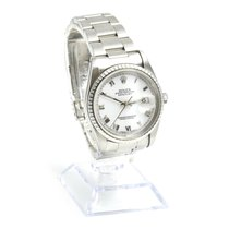Rolex Datejust White Roman Dial Steel Mens Watch 16220