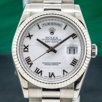 Rolex Day-Date 36 Or blanc 36mm Blanc Romain
