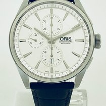 Oris Artix Chronograph pre-owned 44mm Silver Chronograph Date Leather