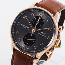 IWC Rose gold Automatic Grey Arabic numerals 40,9mm pre-owned Portuguese Chronograph