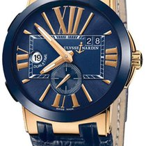 Ulysse Nardin Executive Dual Time 246-00-5-43 Blue Dial Rose Gold
