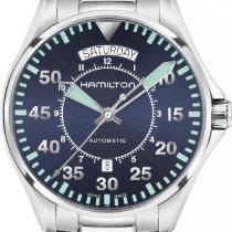 Hamilton H64615145 Steel Khaki Pilot Day Date new