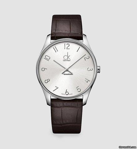 Calvin Watch Leather Klein K4d211g6 Classic Dial Brown Men's Silver Ck f6vmIYb7yg