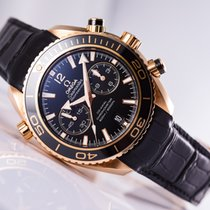 Omega Red gold Automatic Black No numerals 45.5mm new Seamaster Planet Ocean Chronograph
