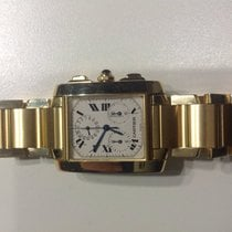 Cartier Tank Française pre-owned Chronograph Double chronograph Flyback Panorama date Date Yellow gold