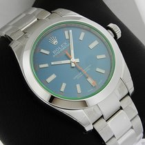 Rolex Milgauss 116400GV Green Crystal Blue Dial Box & Papers