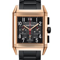 Jaeger-LeCoultre Reverso Squadra Chronograph GMT pre-owned 41mm Black Chronograph Date GMT Rubber
