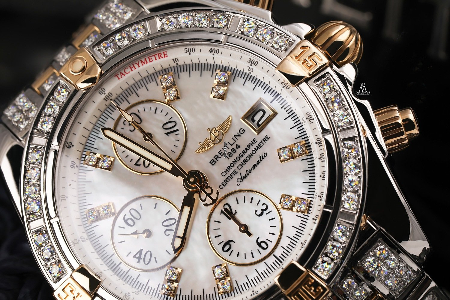 Breitling Diamond Breitling B13356 Mother Of Pearl Dial For