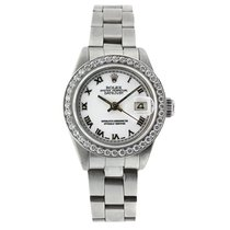 Rolex Oyster Perpetual Lady Date Acier 26mm Blanc Romains