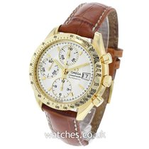 Omega Yellow gold Automatic Silver 38mm pre-owned Speedmaster Date