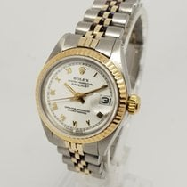 Rolex Lady-Datejust 6917 White Dial 18K Gold Steel 26mm Watch