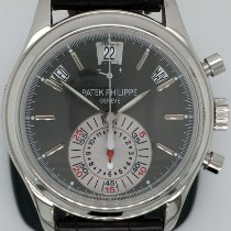 Patek Philippe Platinum Automatic Grey No numerals 40.5mm pre-owned Annual Calendar Chronograph