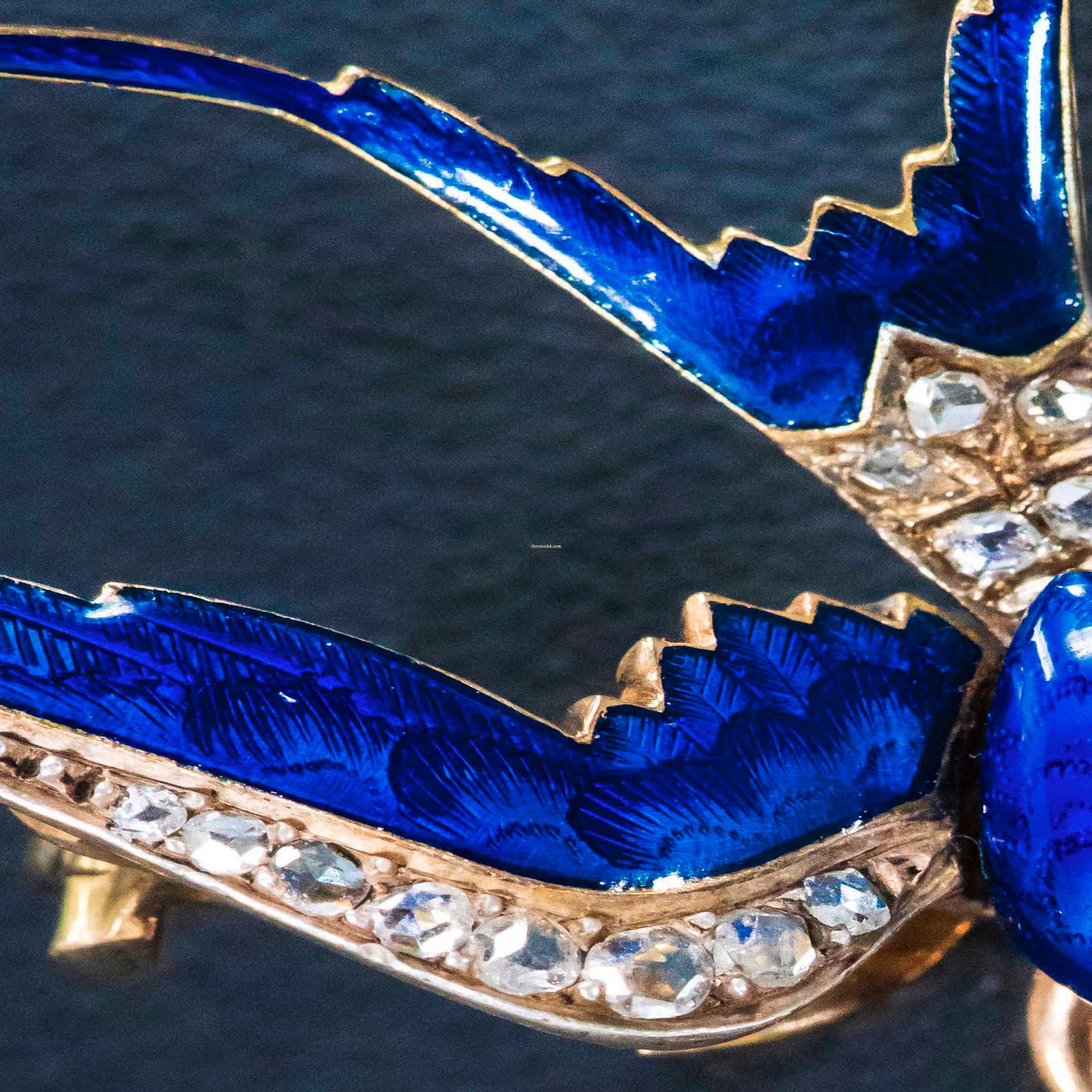 Golay-Leresche 1880s French Diamond Ruby Enamel Swallow Bird