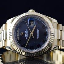 Rolex Day-Date II Gulguld 41mm Svart Romerska