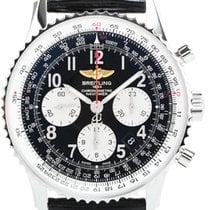 Breitling Navitimer 01 Chrono Automatic Black Leather Watch...