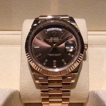 Rolex Day-Date 40mm Rose Gold Baguette Diamond Dial  B&P