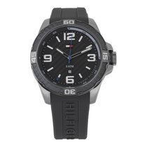 Tommy Hilfiger Men's Gray Silicon Stainless Steel Round Analog...