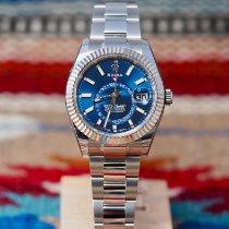 Rolex Sky-Dweller Stal 42mm Niebieski Bez cyfr