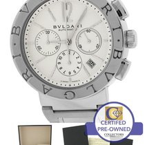 Bulgari Automatic Chronograph BB42SSCH BB 42 Silver Ivory...