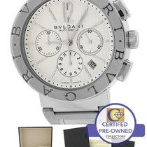 불가리 Automatic Chronograph BB42SSCH BB 42 Silver Ivory Steel Watch
