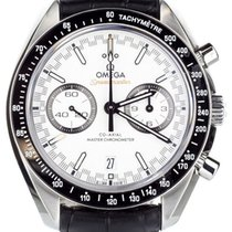 Omega Speedmaster Racing pre-owned 44mm White Chronograph Date Crocodile skin