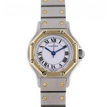 Cartier Santos (submodel) Złoto/Stal 25mm Biały Rzymskie