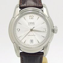 Oris Artelier Date Stainless Steel On Brown Alligator Silver...
