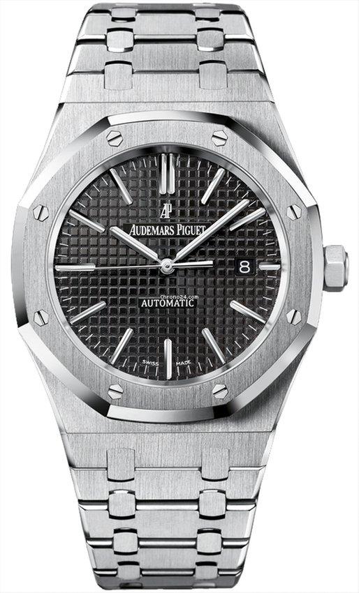 Audemars Piguet Royal Oak Steel Black Dial Automatic Mens Watch New B P