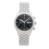IWC Pilot Chronograph pre-owned 39mm Black Chronograph Date Fold clasp