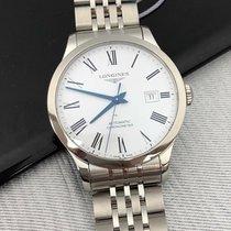 Longines Record new Automatic Watch with original box and original papers L2.821.4.11.6 Longines RECORD Acciaio Bianco Romani 40mm
