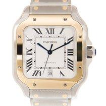 卡地亚 Santos De Cartier 18 K Yellow Gold White Automatic W2SA0006