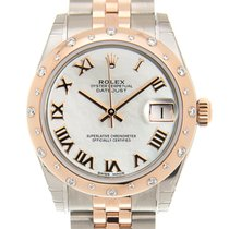 Rolex Lady Datejust 18k Rose Gold And Steel White Automatic...