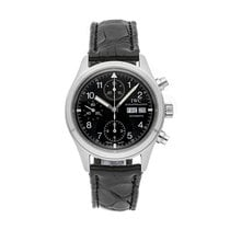 IWC Pilot Chronograph pre-owned 39mm Black Chronograph Date Crocodile skin