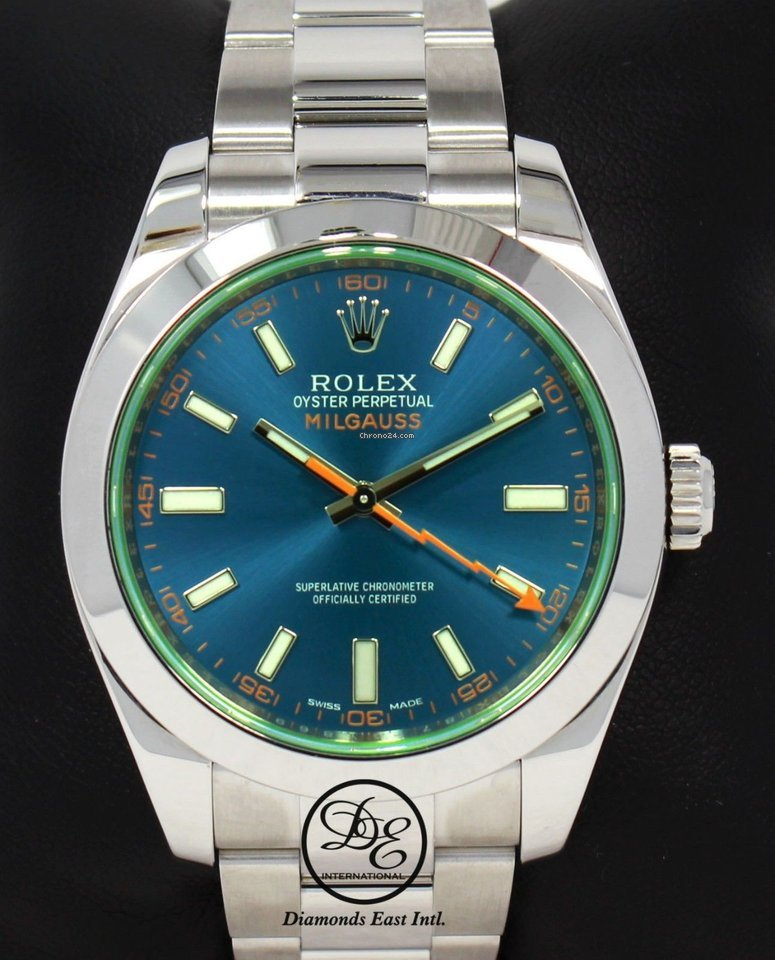 Rolex Milgauss 116400gv Oyster Perpetual Z Blue Dial Green Crystal