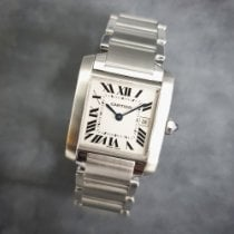 Cartier Tank Française pre-owned 25mm White Date Steel