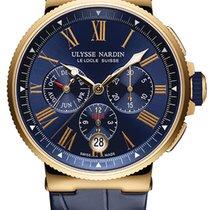 Ulysse Nardin Marine Chronograph Pозовое золото 43mm Синий