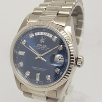 Rolex Day-Date Factory Diamond Blue Dial18K White Gold Mens Watch