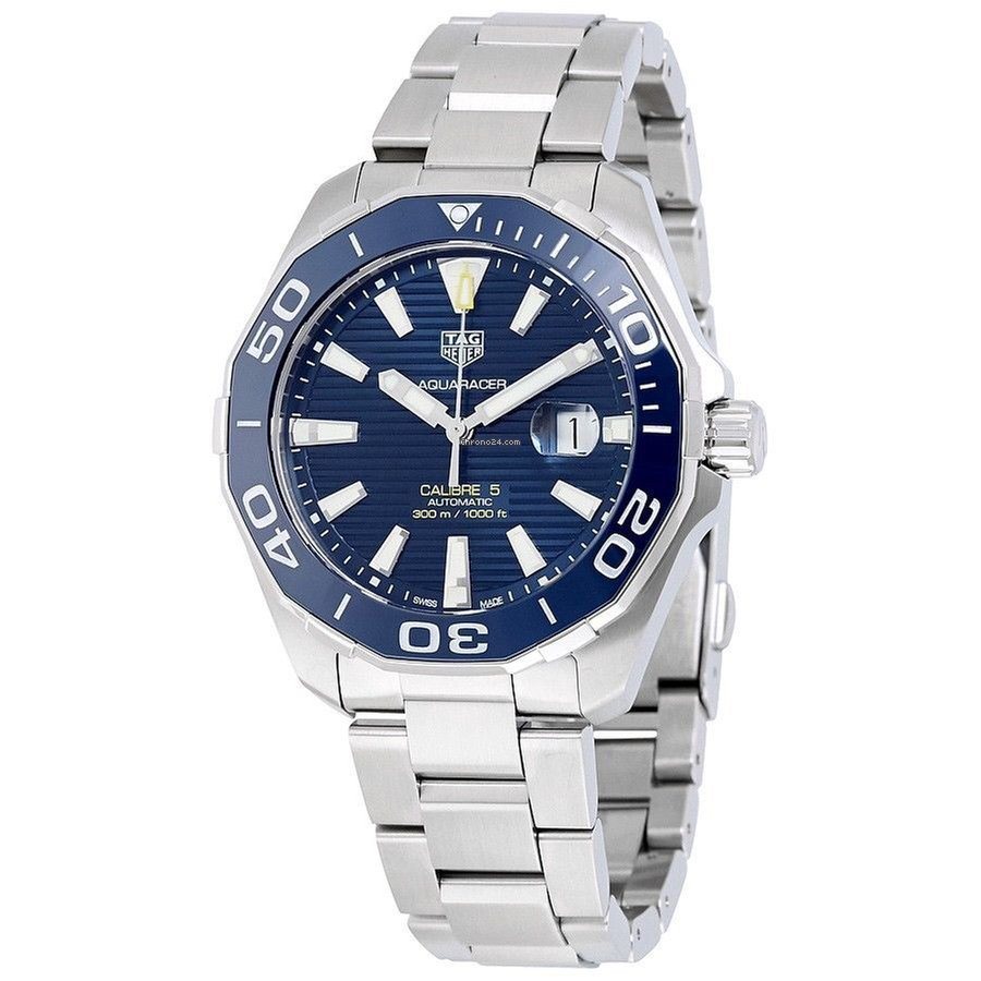 TAG Heuer WAY201B.BA0927 Tag Heuer Aquaracer Calibre 5 Mens Watch Blue Bezel 43mm 300m