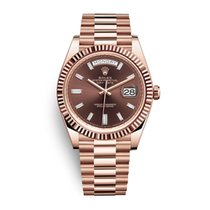 Rolex Day-Date 40 Or rose 40mm Brun Sans chiffres