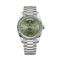 Rolex Day-Date 40 White gold 40mm Green Roman numerals United States of America, New York, NEW YORK