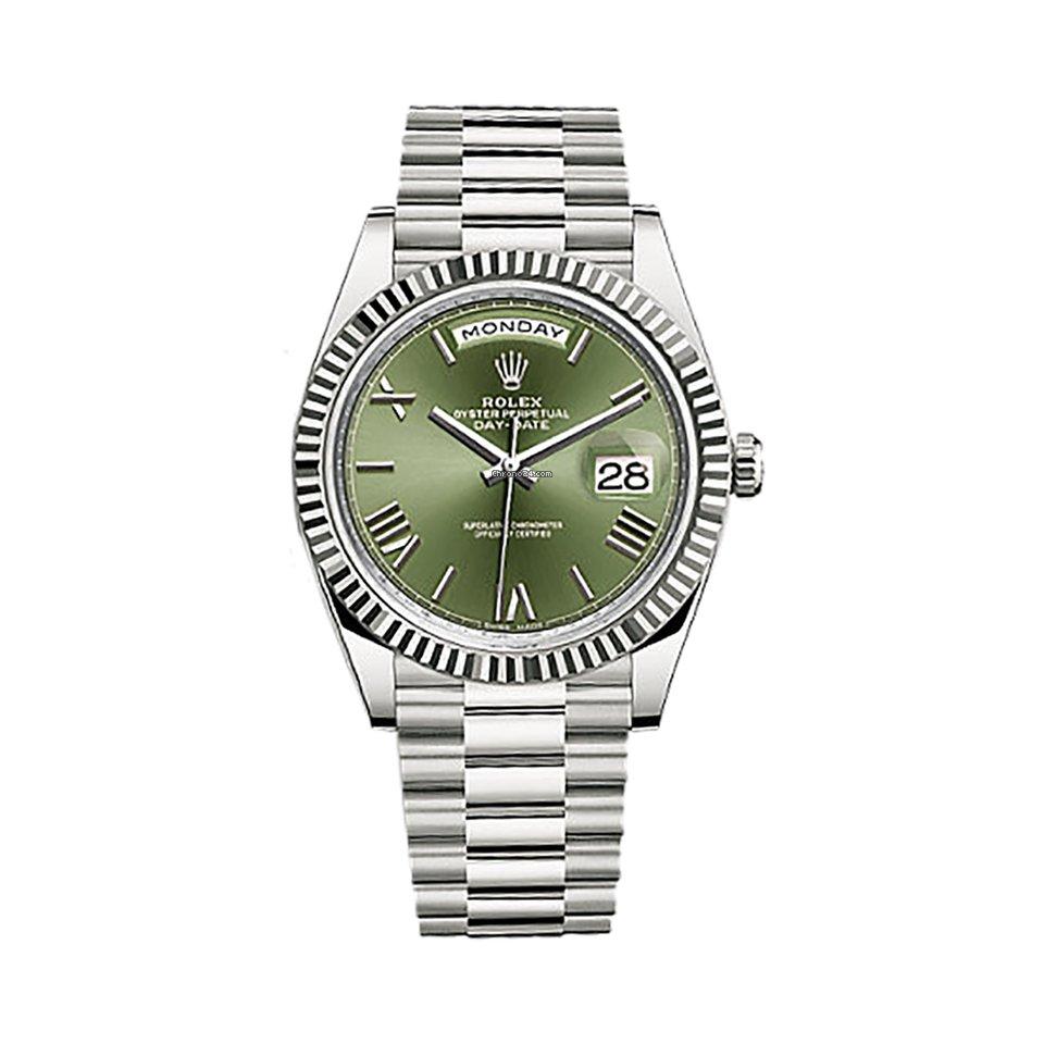 Rolex Day,Date 40 18k White Gold Green Roman Dial