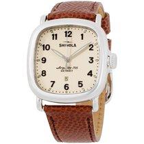 Shinola The Guardian Cream Dial Leather Strap Men's Watch...